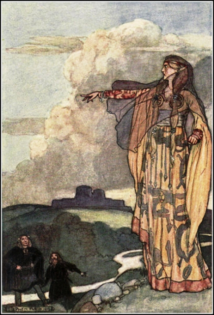 The goddess Macha, wife of Nemedh, leader of the third migration into the Emerald Isle
