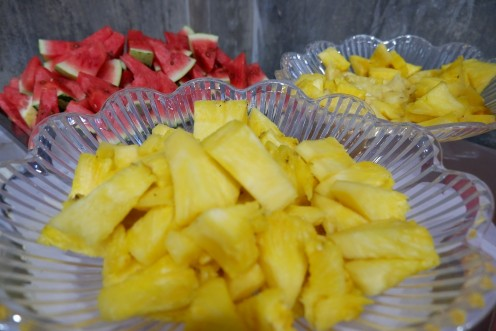 After eating all the main dishes, we of course would love to eat fruits.  We love to eat pineapple and watermelon.