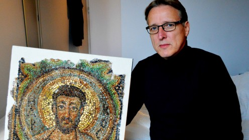 Arthur Brand with his latest find - a Byzantine-era St Mark mosaic stolen from a Cyprus church after the Turkish invasion in 1974.