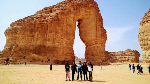 Tourists marvel at the famous Elephant Rock  in Al-Ula.