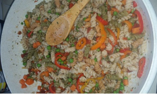 pasta salad with fresh vegetables and thawed frozen vegetables