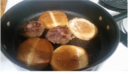 fried hamburger and fried bread