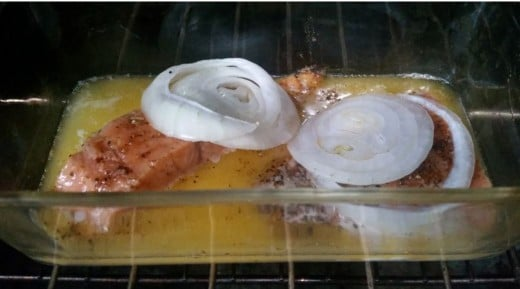 salmon, onion and butter