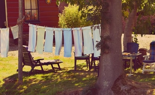 Towels drying on peaceful clothesline. It's part of an ecologically sound lifestyle.