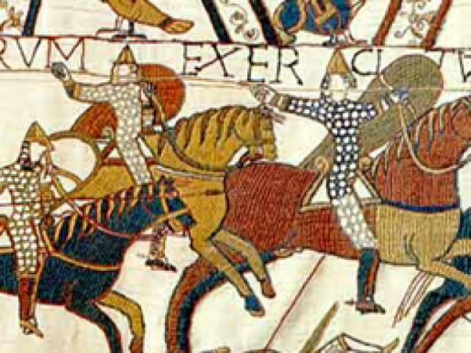 Everybody knows this one: extract from the Bayeux Tapestry shows Norman cavalry on the rampage -  Englishmen at this time wouldn't dream of endangering their mounts