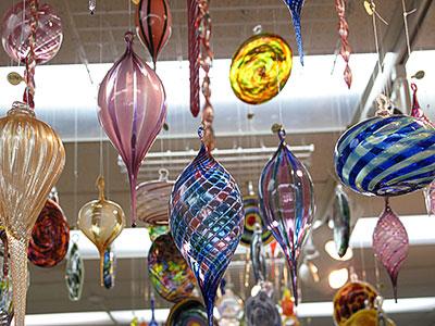 Hanging glassware on display at Mackerel Sky