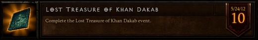 The Lost Treasure of Khan Dakab event achievement.