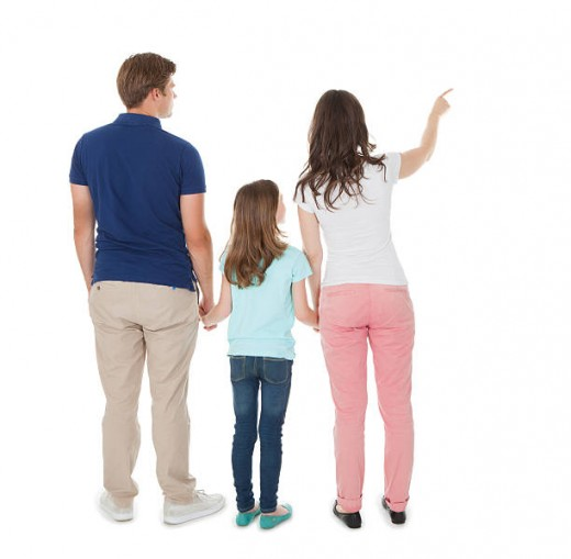 Woman Pointing the family to something
