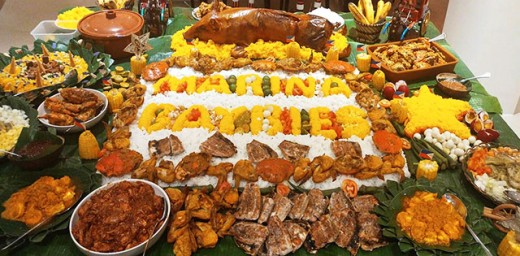 Lechon (whole roasted pig) is a highlight of every Filipino party. Boodle feast is where everyone eats from a table covered with banana leaves w/ their hands and all the foods (except sauce, soup and desserts) are all laid out on the table altogether