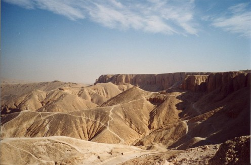 The Valley of Kings in Luxor, Egypt, is a fine example of a wadi-type desert valley
