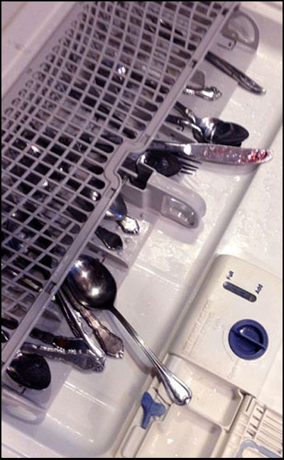 Here is an example for improper loading of the silverware rack.