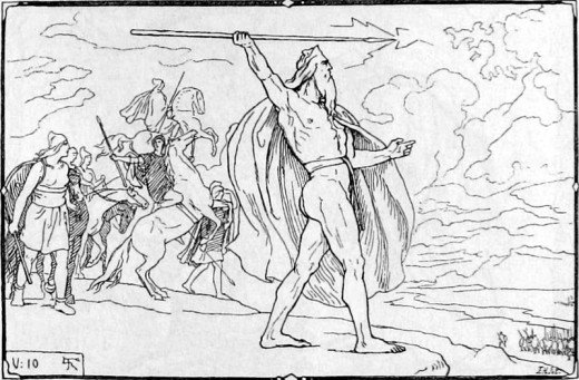 'Odin Throws His Spear at the Vanir Host', Lorenz Frølich, 1895.