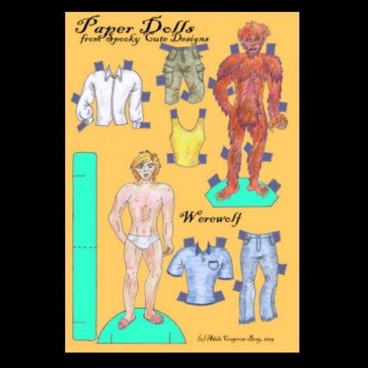 Doll design needn't be traditional.  How many of you have seen a werewolf paper doll before?