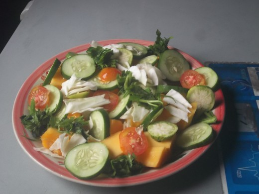 Eat more of fruits and vegetables as a salad dish for breakfast ot snack.
