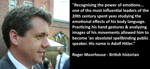 Roger Moorhouse describing Hitler's ability to control the emotions of the crowd.