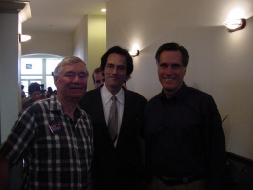 My Uncle Randall, Yours Truly, and Mitt Romney at my place of business