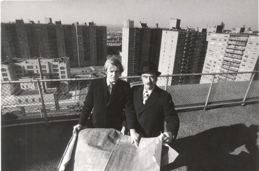 Donald Trump and his father Fred Trump in the 1970's