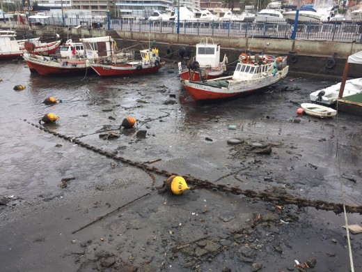 Extreme low tide at Punta del Este, Uruguay
