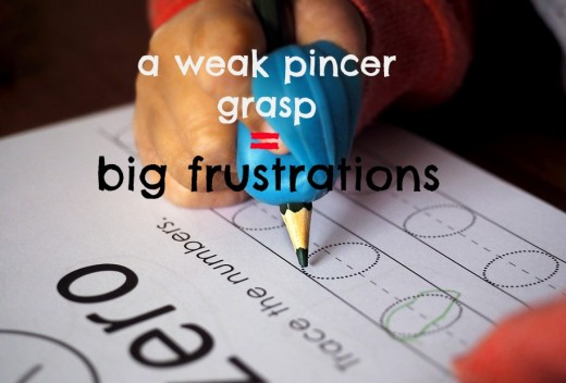 A preschooler's weak pincer grasp can lead to frustration and fatigue in kindergarten.