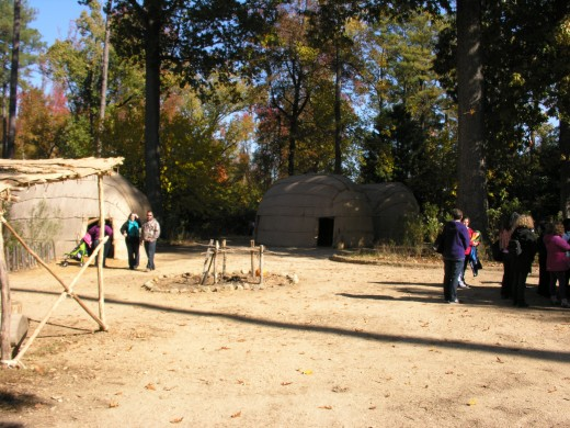 The Jamestwon Native American village, November 2014.
