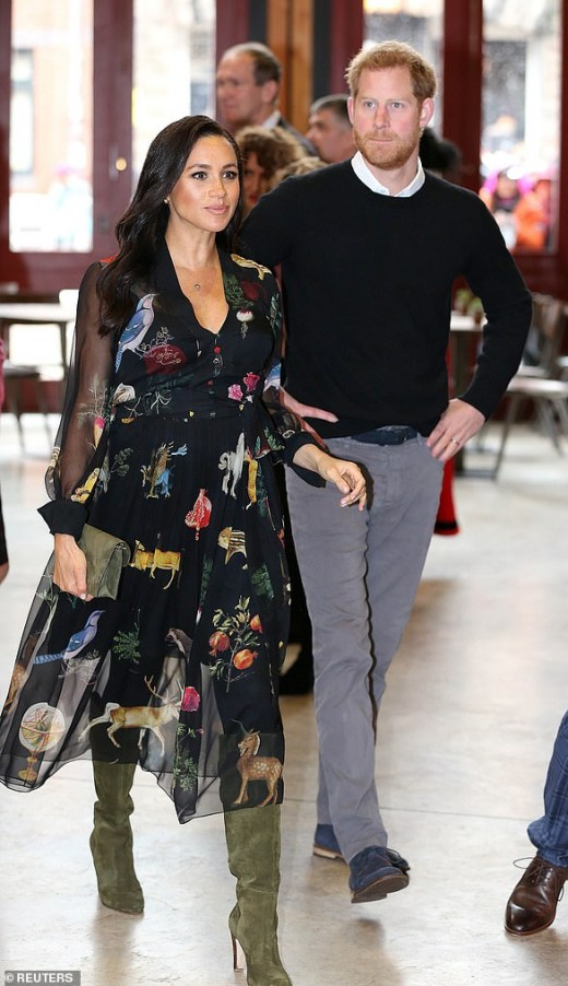 On February 1, 2019, the Duchess of Sussex wore an Oscar de la Renta dress and green accessories for a trip to the Old Vic in Bristol. Her outfit cost $4,700.