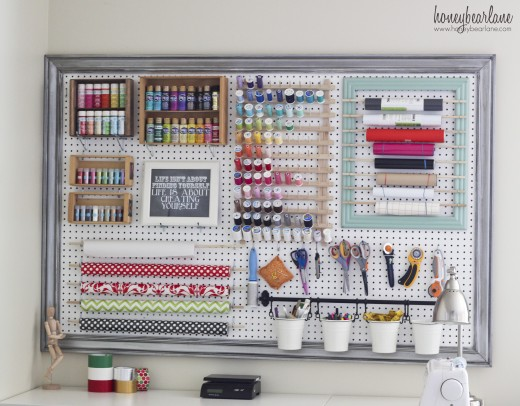 Use every inch of wall space to keep organized. Free tutorial explains how to create your own framed peg board.