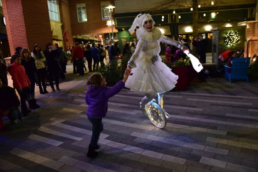 Frost Fest at Pentagon Row Shops in Arlington. This juggler comes out of a translucent plastic bubble!