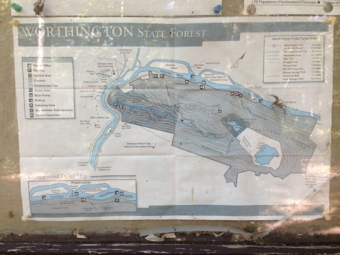 Map displayed in the information kiosk along the Appalachian Trail about 3.1 miles northeast of the Delaware Water Gap in Worthington State Forest, New Jersey