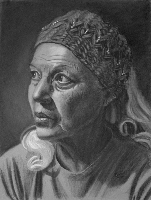 Charcoal drawing of my friend Lupe who is over 70.