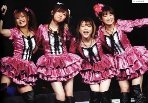 From left to right: Risa Niigaki, Asami Konno, Makoto Ogawa, and Ai Takahashi (Abe).