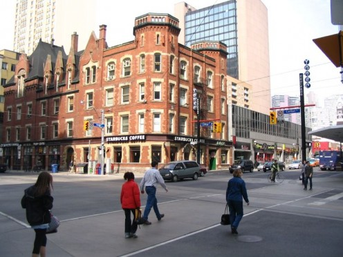 Northwest corner of Yonge and College Streets, Toronto, Canada.