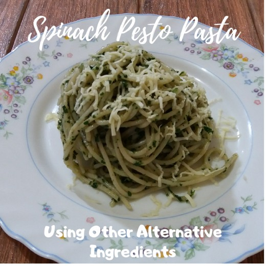 spinach pesto pasta using other alternative ingredients