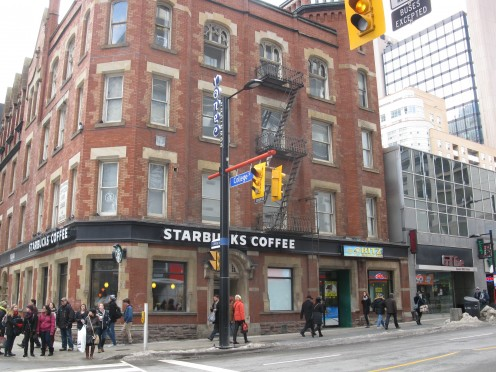 Starbucks NW corner of Yonge and College.