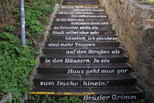 The immortal words of the Grimm Brothers' disapprovial of city with 'more stairways than houses'