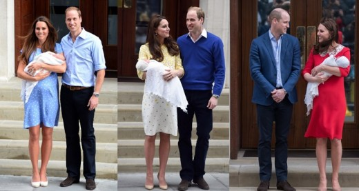 Duke and Duchess of Cambridge leaving St. Mary's Hospital after the birth of their three children.