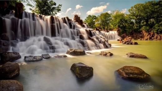 Giang Dien waterfall in the rainy season