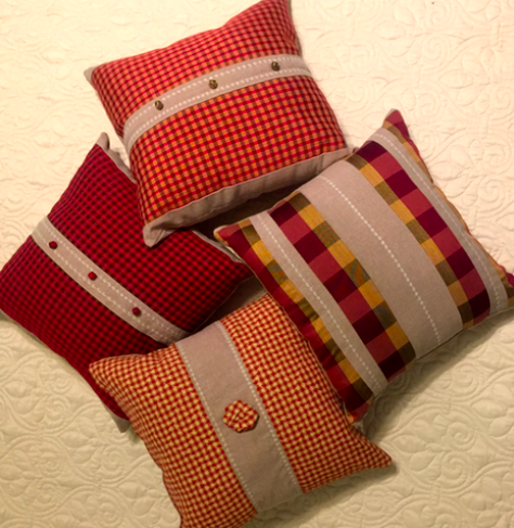 Christmas pillows designed with potential to be used throughout the year.