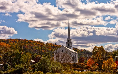 Fall in New England; Stowe Community Church