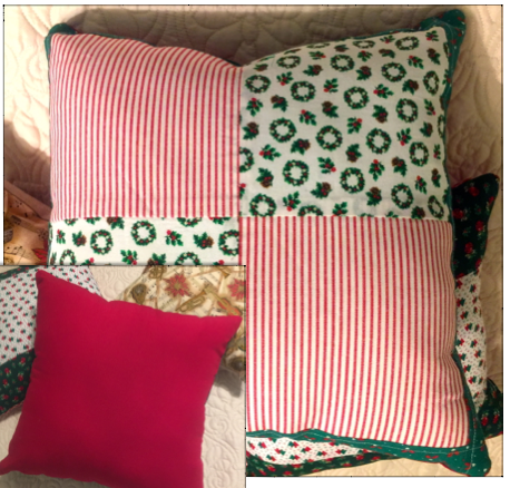 Vintage fabric pillow designed in quilt block style with matching red back.