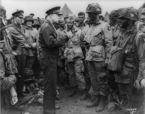 General Dwight D. Eisenhower addresses American paratroopers prior to D-Day, 5 June 1944