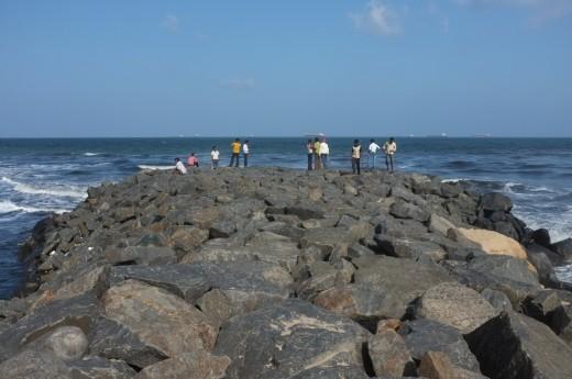 Sea walls in North Chennai beach