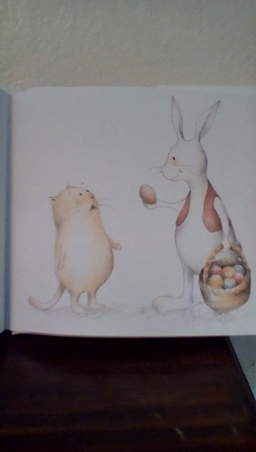 The Easter Bunny shows up to give Cat some eggs