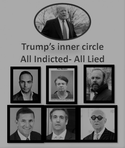 """Left to Right: George Papadopoulos- Advisor;Paul Manafort, Campaign Manager; Rick Gates, Campaign Aide; Michael Flynn, Administration; Michael Cohen, Attorney """"Fixer""""; and Roger Stone, Associate."""
