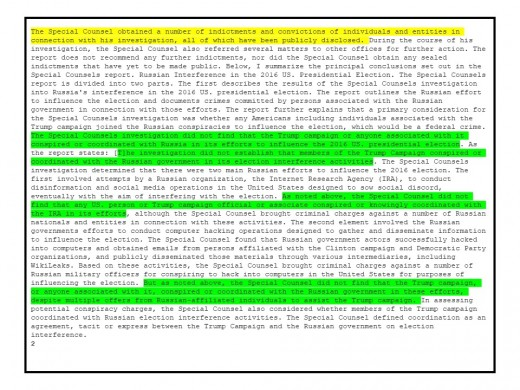 The Barr Report, pg.2 The yellow highlight is where Barr refers to himself. The green highlight is how many times he says Trump is not involved.