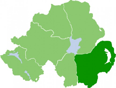Outline map of County Down, Northern Ireland