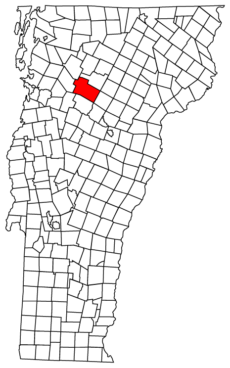 Map of Vermont towns with Stowe highlighted