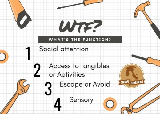 These are the 4 functions of behavior, and the WTF question is the core question that must always be asked in order to discover why are behavior functions the way it does.