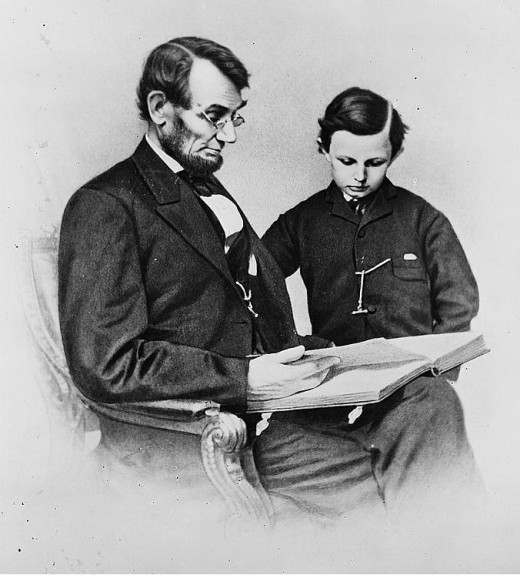 Lincoln and his youngest son, Tad.