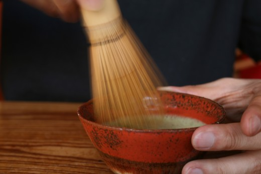 Preparing Matcha tea the traditional way