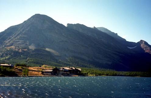 Many Glacier Hotel over Swiftcurrent Lake, Glacier National Park, Montana, USA